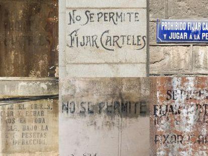 Algunos de los ejemplos del prohibicionario municipal de pared del que aun quedan rasgos en Barcelona.