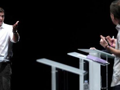 Albert Rivera y Pablo Iglesias durante un debate previo a las elecciones. Jaime Villanueva