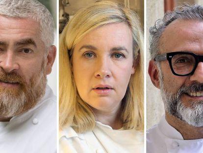 De izquierda a derecha, los chefs: Alex Atala, Hélène Darroze y Massimo Bottura.
