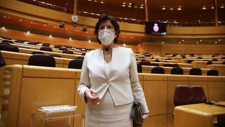 La ministra de Educación, Isabel Celaá, este miércoles en el Senado.