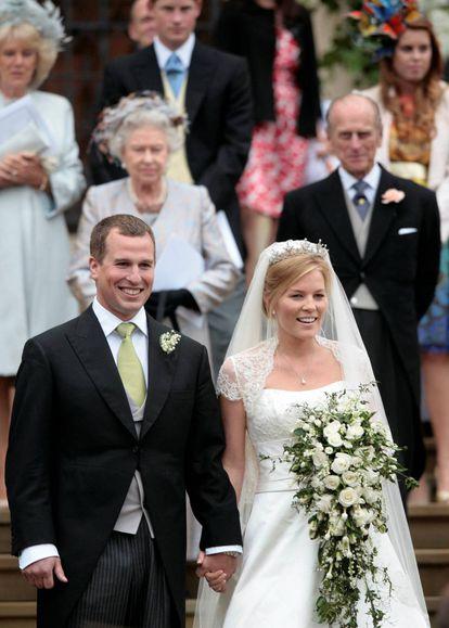 Peter Phillips y Autumn Kelly, el 17 de mayo de 2008 en su boda.