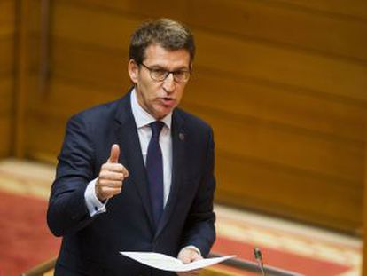 Alberto Núñez Feijóo, esta mañana en el Parlamento de Galicia.