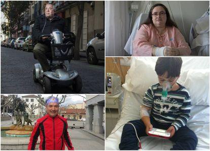 Arriba, Mariano Pastor, en Malasaña, y Patricia Sedano, ingresada estos días en el Hospital La Paz. Abajo, Jesús Ganzábal y el niño Romeo Hidalgo.