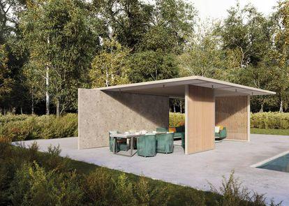 Los pabellones H de Kettal se pueden personalizar en el techado, las paredes (correderas, fijas o abatibles) y en el interior (con cortinas, persianas regulables o lumunarias). |