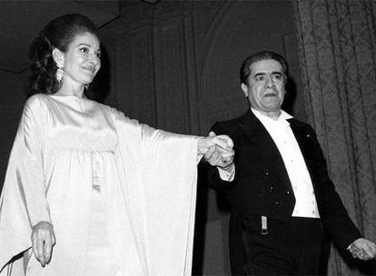Maria Callas y Giuseppe di Stefano, el 5 de marzo de 1974, en el Carnegie Hall de Nueva York.