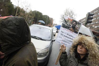 Protesta por los despidos de la Politécnica de Madrid.