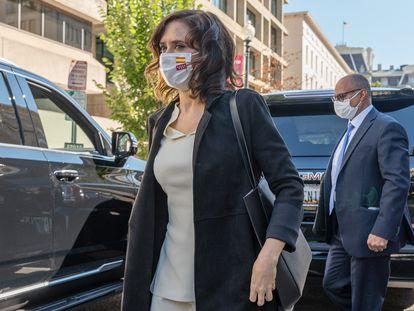 La presidenta de la Comunidad de Madrid, a su llegada a la sede de Council on Foreign Relations.
