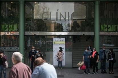 Acceso al Hospital Clínic de Barcelona, el pasado jueves.