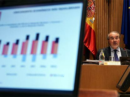 El vicepresidente segundo, Pedro Solbes, durante la presentación del proyecto de Presupuestos.