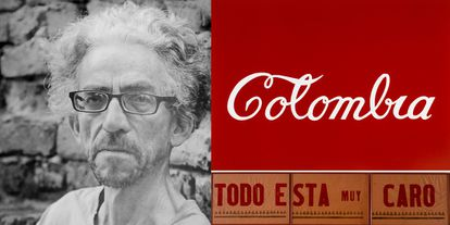 El artista conceptual Antonio Caro y dos de sus obras más famosas.