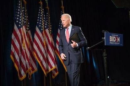 El precandidato demócrata Joe Biden en una comparecencia en Wilmington, Delaware.
