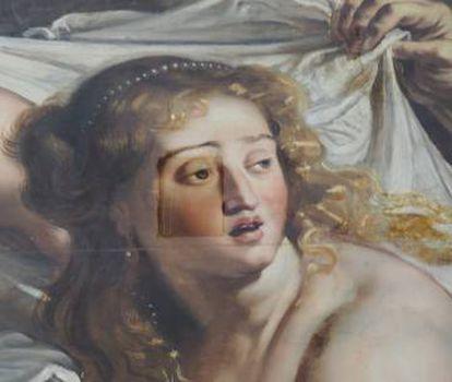 Detalle de la limpieza de 'Susana y los viejos', de Rubens.