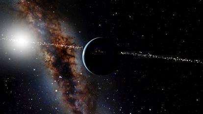 Una vista de la Tierra y el Sol desde miles de kilómetros de distancia sobre nuestro planeta