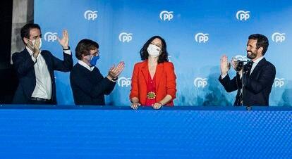 Los líderes del PP celebran la victoria de Díaz Ayuso el pasado 4 de mayo.