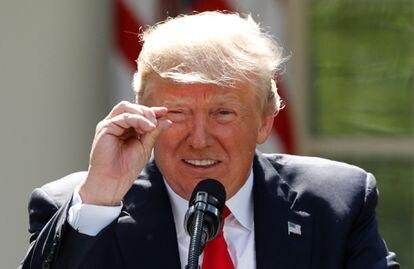 Donald Trump cuando anunció en junio de 2017 que retiraba a su país del Acuerdo de París.