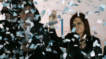 La presidenta de Argentina, Cristina Fernández de Kirchner, durante un mitin ayer en Buenos Aires.