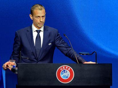 El presidente de la UEFA, Aleksander Ceferin, en el congreso de su organismo.