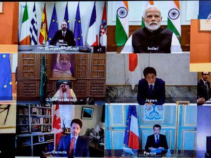 Líderes de las principales economías mundiales celebraron una cumbre en línea, en marzo de 2021.