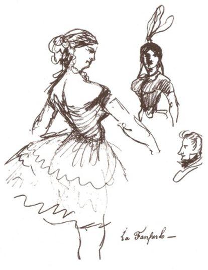 Dibujo de Baudelaire 'La Fanfarlo'.
