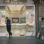 A municipal worker sweeps the sidewalk next to a jewelry shop in Mexico City, Mexico, on Friday, April 23, 2021. The Covid-19 pandemic has sent a wave of poverty racing across Latin America, deepening declines that began over the past decade and consigning millions to lives of deprivation. Photographer: Luis Antonio Rojas/Bloomberg