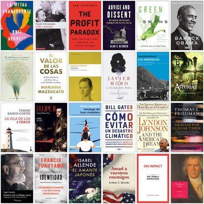 Una muestra de las portadas de los libros que distintas personalidades recomiendan a los lectores de 'Negocios' para este verano.