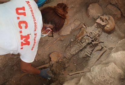 Trabajos de exhumación de la fosa común anexa al cementerio de Almagro, en Ciudad Real, el pasado mayo.