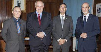 Enric Fossas, rector de la UPC, Carlos Conde (UPM); Francisco J. Mora (UPV), y José Antonio Franco (UPCT).