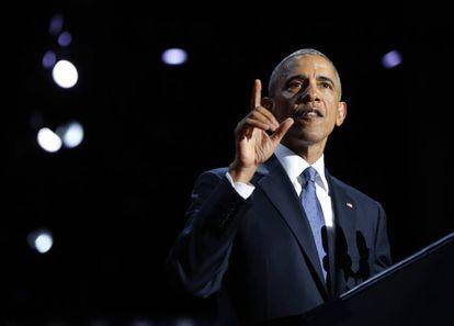 Obama en Chicago, en su último discurso como mandatario.