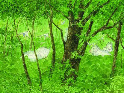 Viñeta de 'El bosque milenario' (Ponent Mon), de Jiro Taniguchi.