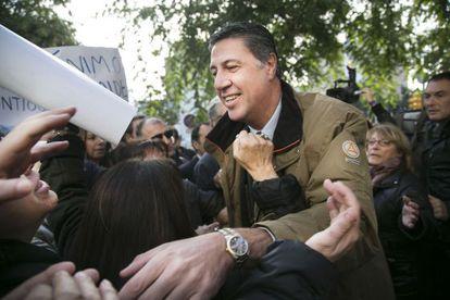 Albiol antes de ser juzgado en la Ciudad de la Justicia, Barcelona.
