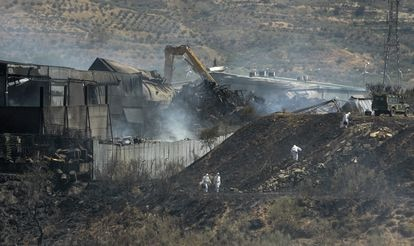 Planta de residuos de Chiloeches (Guadalajara) tras el incendio registrado en agosto de 2016.