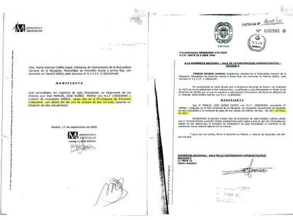 LAS DUDAS SOBRE LA EXPERIENCIA DEL CANDIDATO. Manuel Núñez Mateo presentó para el concurso un certificado de la Mutualidad de la Abogacía en el que se aseguraba que estaba de alta en ese organismo desde el 1 de octubre de 2003 (izquierda). Sin embargo, tras impugnarse la oposición en la Audiencia Nacional, esa misma mutualidad envió al tribunal otro certificado que fechaba su alta a 1 de enero de 2007. Una portavoz de la Mutualidad asegura que el contenido del documento aportado por Núñez Mateo es falso.