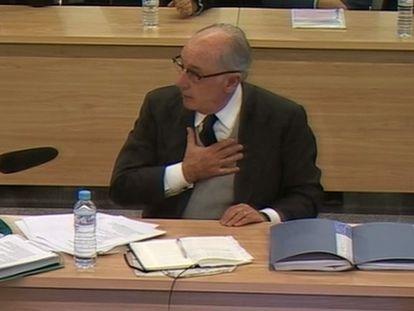 El expresidente de Bankia Rodrigo Rato, en el juicio por la salida a Bolsa de la entidad.