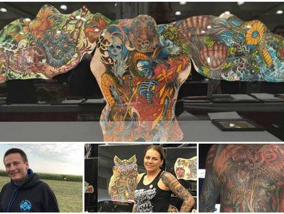 Arriba, la piel tatuada de Chris Wenzel, enmarcada. Abajo, el tatuador, su esposa, Cheryl, y el torso tatuado del hombre.