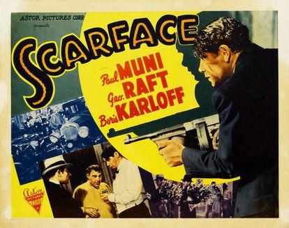 Cartel de la película Scarface, dirigida y producida en 1932 por Howard Hawks.