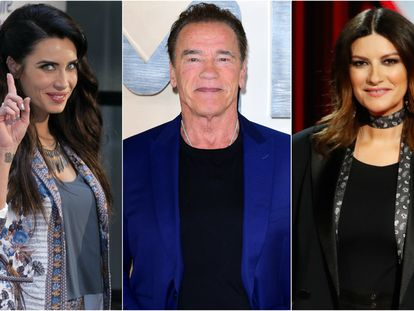 Pilar Rubio, Arnold Schwarzenegger y Laura Pausini.