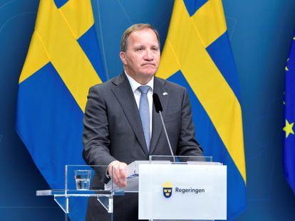 El primer ministro de Suecia, Stefan Löfven, asiste este lunes a una rueda de prensa tras el voto de censura en el Parlamento sueco, en Estocolmo.