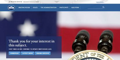 Mensaje que muestra la página www.whitehouse.gov/espanol.