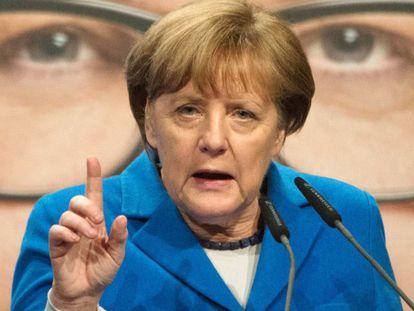Angela Merkel en Stuttgart, durante la campaña electoral