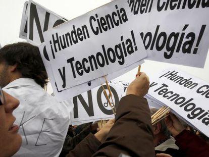Protesta del Colectivo Carta Abierta por la Ciencia el año pasado.