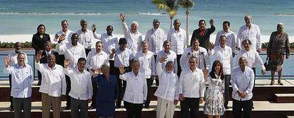 La foto de familia de los presidentes de América Latina y el Caribe reunidos en Cancún