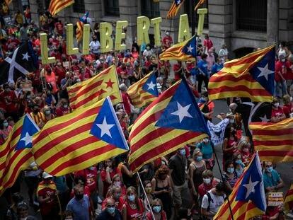 Manifestación independentista de la ANC y Omnium Cultural en Barcelona el pasado 11 de septiembre durante la Diada de Cataluña.