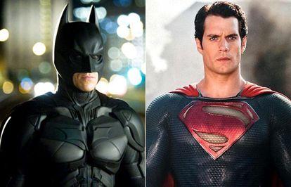 Christian Bale en el papel de Batman y Henry Cavill como Superman.