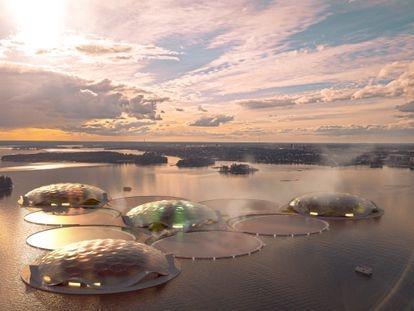 Prototipo del proyecto The Hot Heart , del arquitecto Carlo Ratti, un archipiélago de islas tropicales artificiales con las cuales aspira a calentar los hogares de la capital finlandesa.