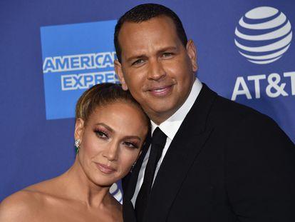 Jennifer Lopez y Alex Rodriguez en enero de 2020.
