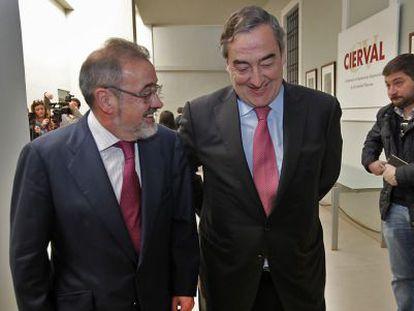 José Vicente González, presidente de la patronal valenciana, a la izquierda, ayer junto a Juan Rosell, presidente de CEOE.