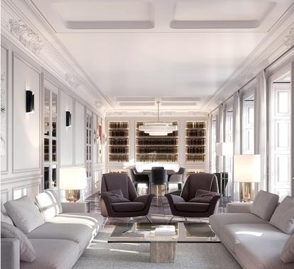 El edificio, rehabilitado íntegramente manteniendo su estilo neoclásico con acabados de máxima calidad, está ubicado en el corazón del céntrico barrio de las Salesas, en Madrid.