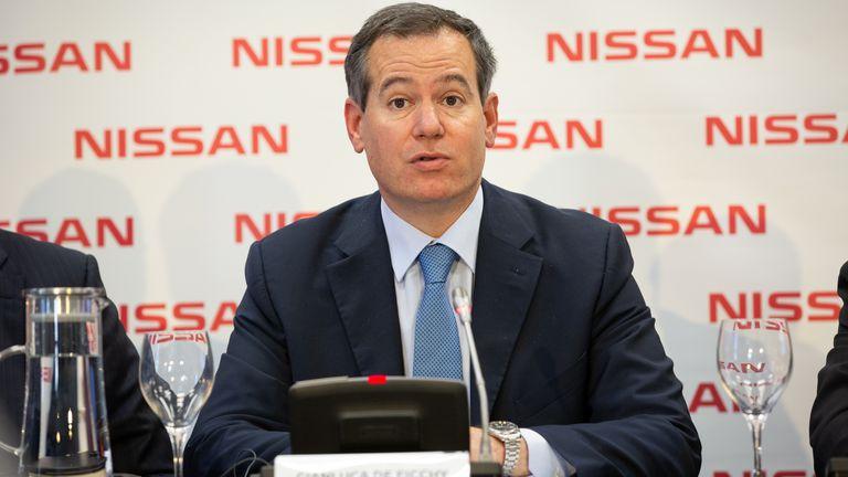 El presidente de Nissan Europa, Gianluca de Ficchy, durante una rueda de prensa en Barcelona, en marzo de 2019.