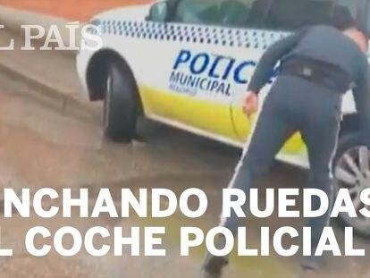 La Policía Municipal busca a un individuo que pinchó dos ruedas de un coche patrulla
