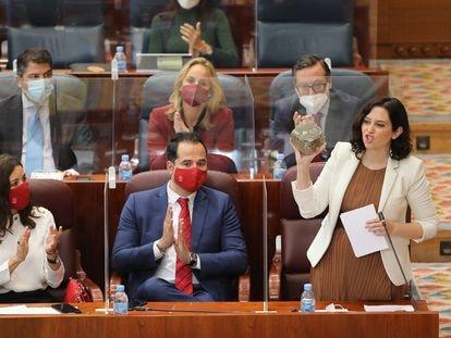 Isabel Díaz Ayuso el jueves en la sesión plenaria en la Asamblea de Madrid.